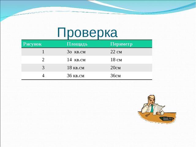 Проверка РисунокПлощадьПериметр 13о кв.см22 см 214 кв.см18 см 318 кв....