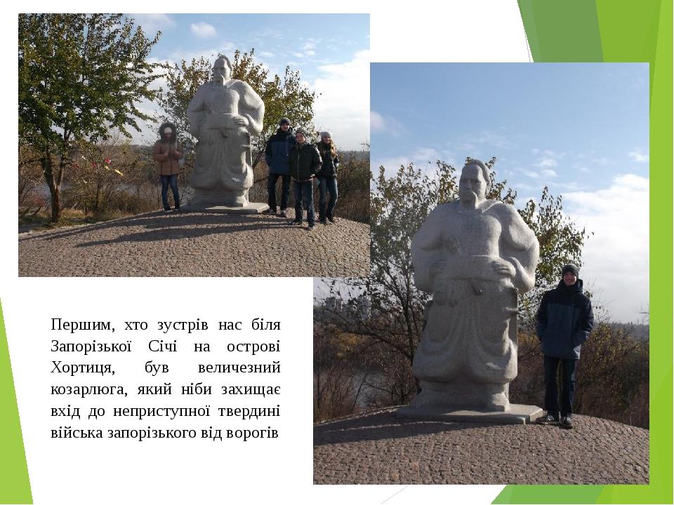Першим, хто зустрів нас біля Запорізької Січі на острові Хортиця, був величез...