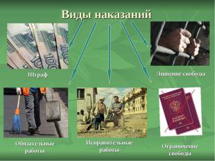 Виды наказаний Обязательные работы Штраф Лишение свободы Ограничение свободы