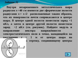 Задание 31 Внутри незаряженного металлического шара радиусом r1=40 см имеютс