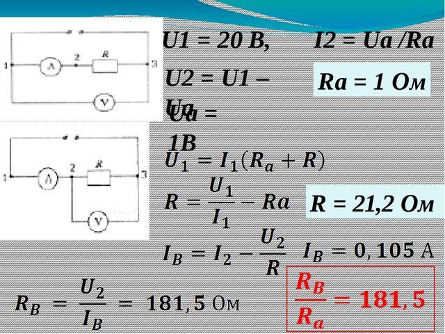 U1 = 20 В, U2 = U1 – Ua Ua = 1В I2 = Ua /Ra Ra = 1 Ом R = 21,2 Ом