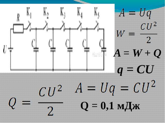 A = W + Q q = CU Q = 0,1 мДж