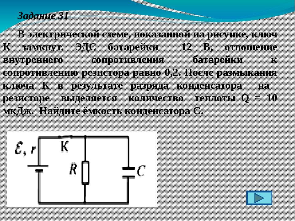 Задание 31 В электрической схеме, показанной на рисунке, ключ К замкнут. ЭД...
