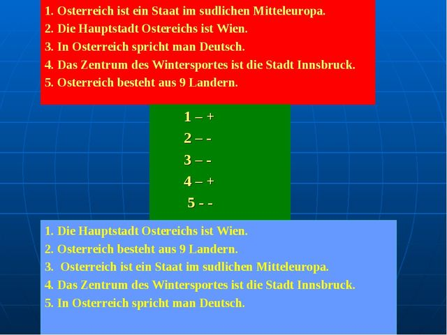 1. Osterreich ist ein Staat im sudlichen Mitteleuropa. 2. Die Hauptstadt Oste...