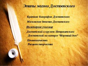 Этапы жизни Достоевского Краткая биография Достоевского Московское детство До