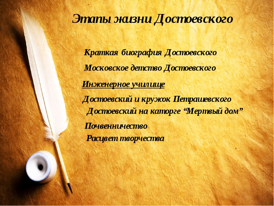 Этапы жизни Достоевского Краткая биография Достоевского Московское детство До...
