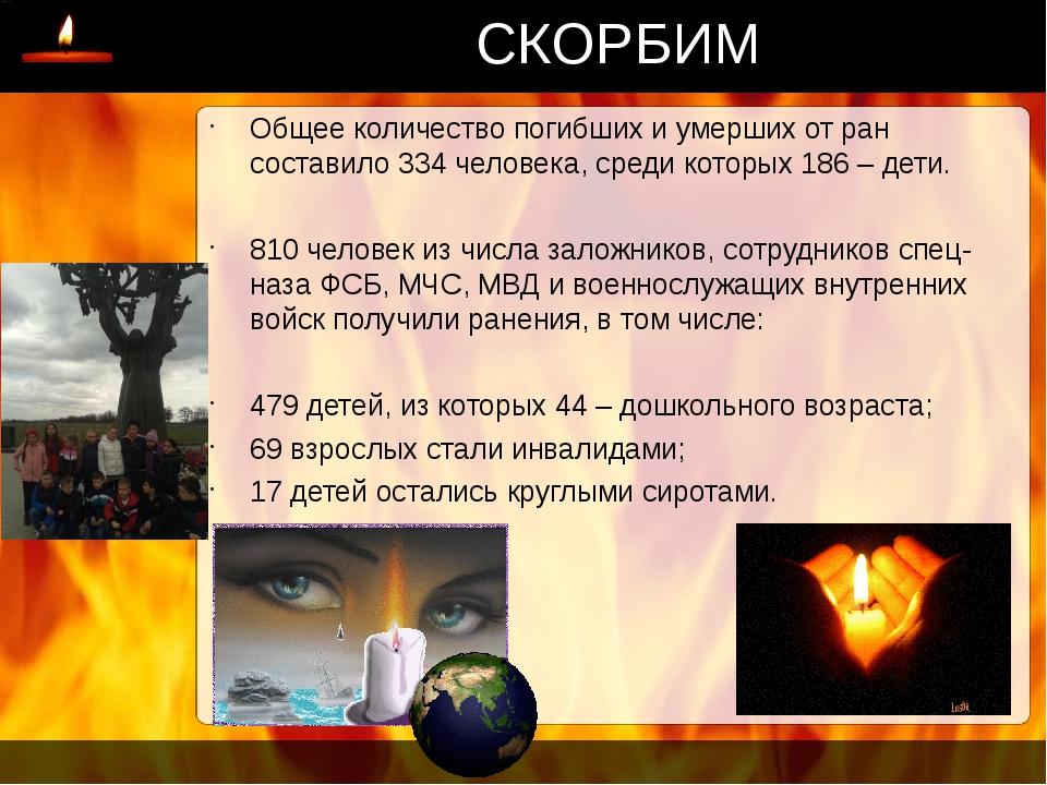 СКОРБИМ Общее количество погибших и умерших от ран составило 334 человека, ср...