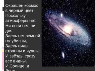 Окрашен космос в чёрный цвет Поскольку атмосферы нет, Ни ночи нет, ни дня. Зд