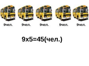 9чел. 9чел. 9чел. 9чел. 9чел. 9x5=45(чел.)