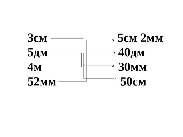 3см 5см 2мм 5дм 40дм 4м 30мм 52мм 50см