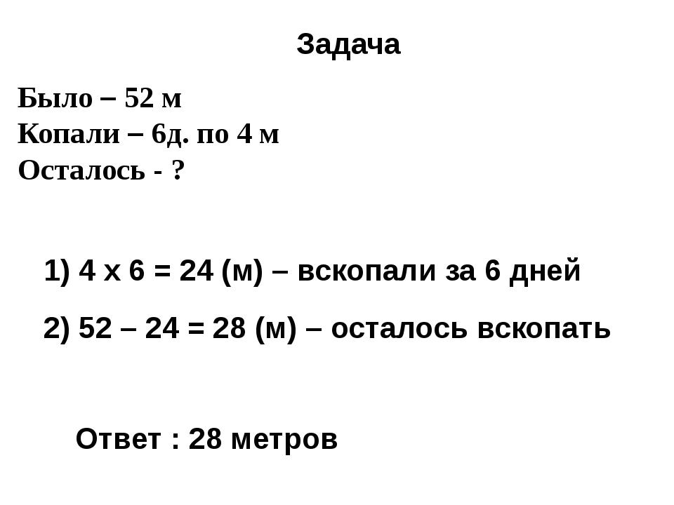 Было – 52 м Копали – 6д. по 4 м Осталось - ? Задача 1) 4 x 6 = 24 (м) – вскоп...