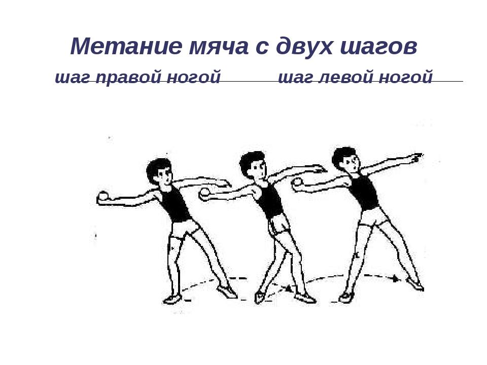 Метание мяча с двух шагов шаг правой ногой шаг левой ногой