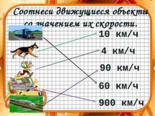 Соотнеси движущиеся объекты со значением их скорости. 10 км/ч 4 км/ч 90 км/ч