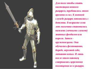 Для того чтобы стать настоящим воином-рыцарем, требовалось много времени и си