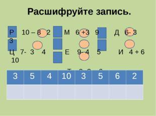 Расшифруйте запись. Р 10 – 8 2 М 6 +3 9 Д 6- 3 3 Ц 7- 3 4 Е 9- 4 5 И 4 + 6