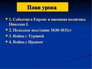 План урока 1. События в Европе и внешняя политика Николая I. 2. Польское восс