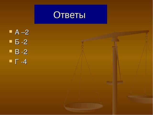 Ответы А –2 Б -2 В -2 Г -4