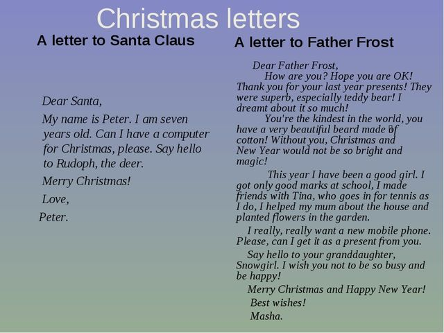 Christmas letters A letter to Santa Claus     Dear Santa, My name is Peter. I...