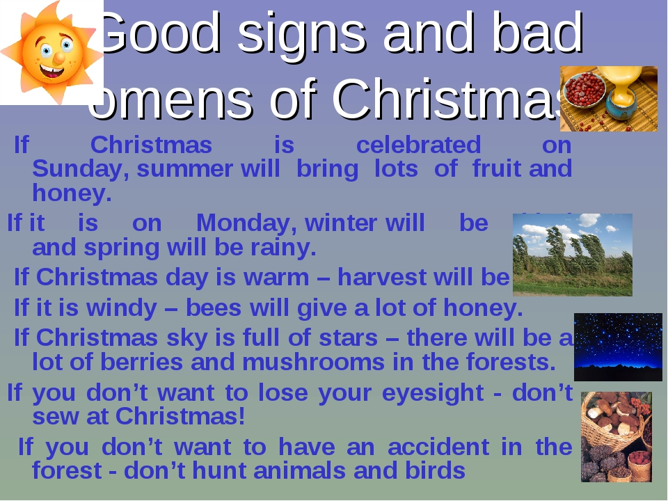 Good signs and bad omens of Christmas  If Christmas is celebrated on Sunday, ...