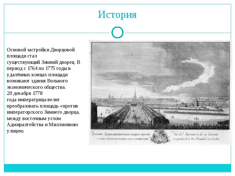 История Основой застройки Дворцовой площади стал существующийЗимний дворец....