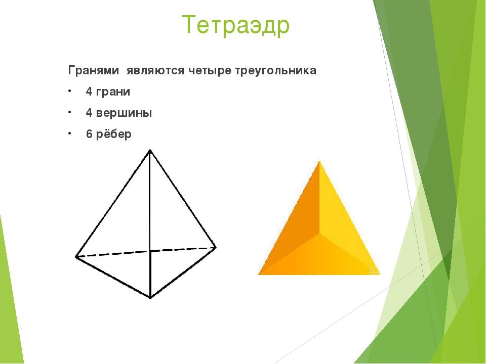 Тетраэдр Гранями являются четыре треугольника 4 грани 4 вершины 6 рёбер