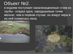 Объект №2. в водоем поступают канализационные стоки из трубы - кладка одна, з