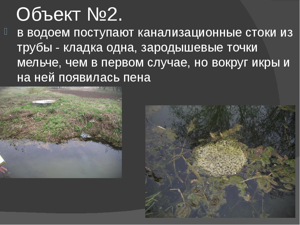 Объект №2. в водоем поступают канализационные стоки из трубы - кладка одна, з...