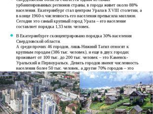 Структура расселения Свердловская область считается одним из самых урбанизиро