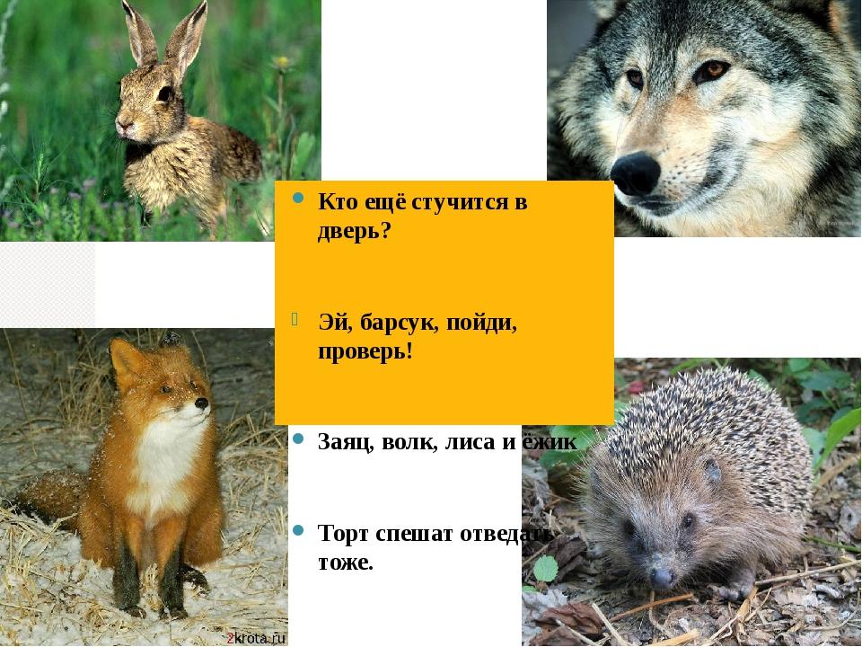 Кто ещё стучится в дверь? Эй, барсук, пойди, проверь! Заяц, волк, лиса и ёжик...