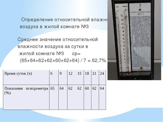 Определение относительной влажности воздуха в жилой комнате №3 Среднее зна...