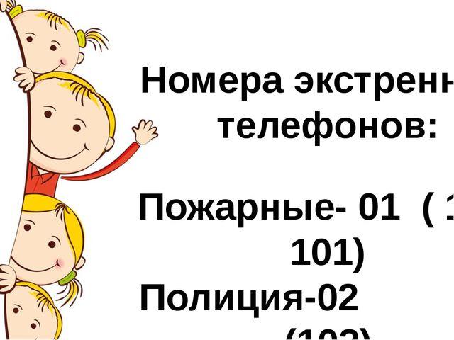 Номера экстренных телефонов: Пожарные- 01 ( 112, 101) Полиция-02 (102) Скора...