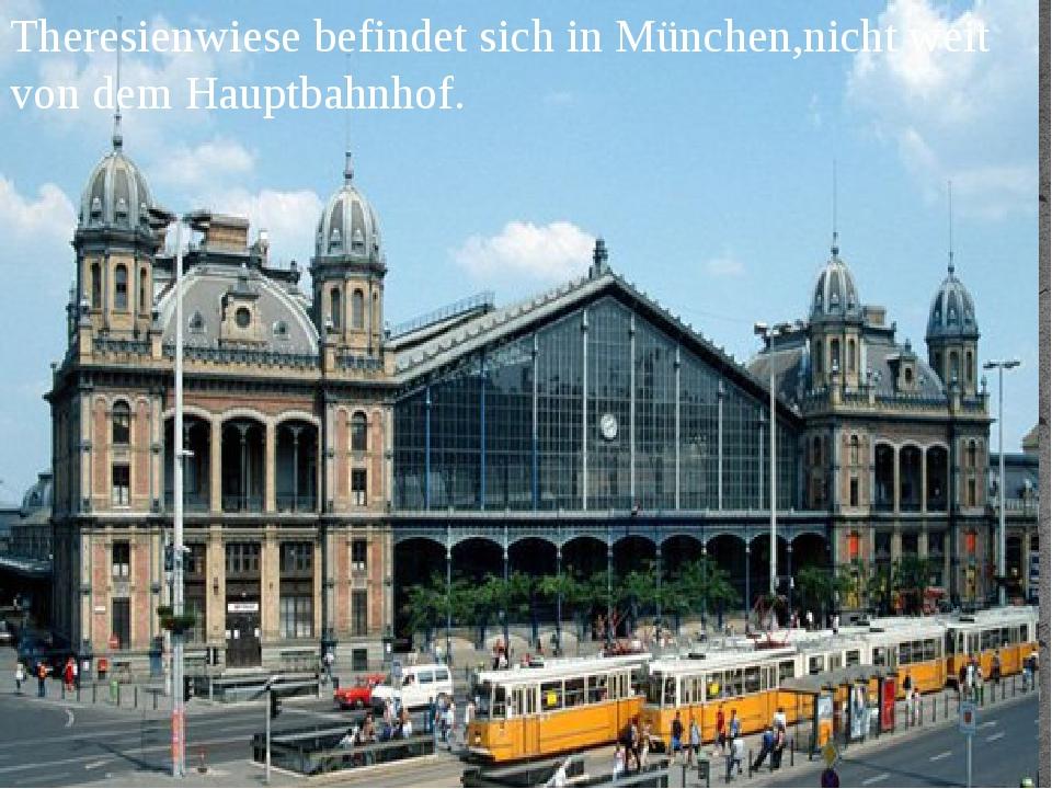 Theresienwiese befindet sich in München,nicht weit von dem Hauptbahnhof.