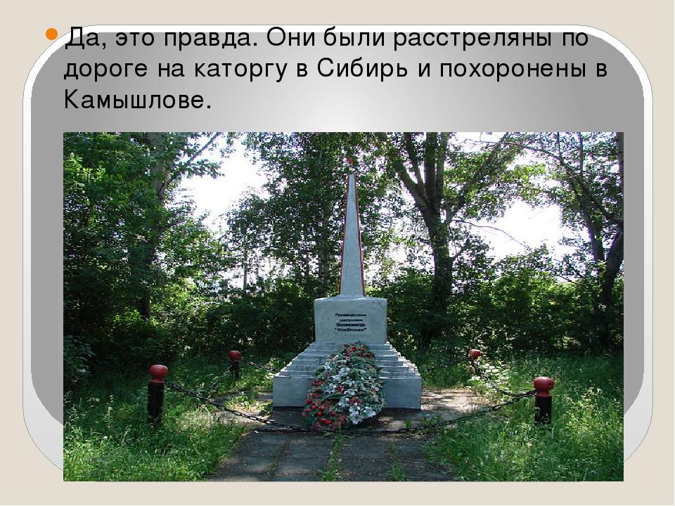 Да, это правда. Они были расстреляны по дороге на каторгу в Сибирь и похороне...
