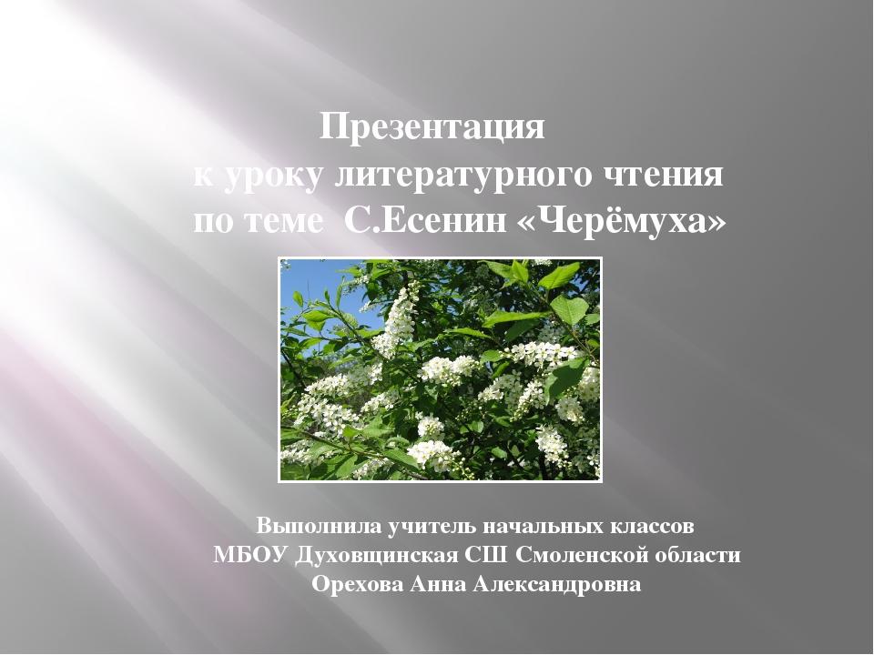 Презентация к уроку литературного чтения по теме С.Есенин «Черёмуха» Выполни...