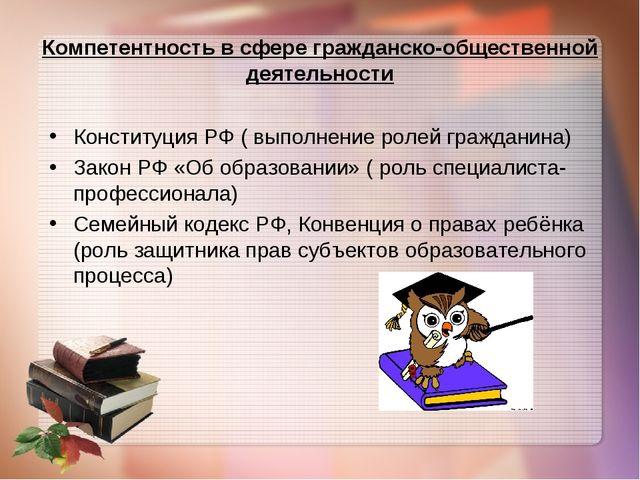 Компетентность в сфере гражданско-общественной деятельности Конституция РФ (...
