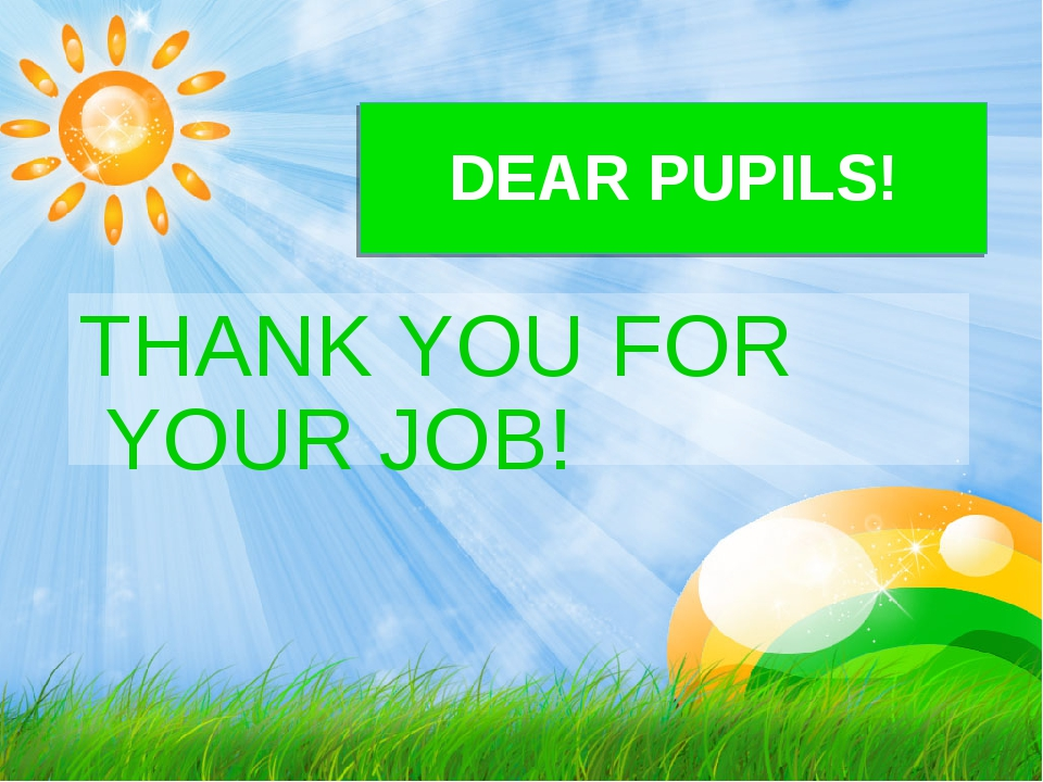 DEAR PUPILS! THANK YOU FOR YOUR JOB!