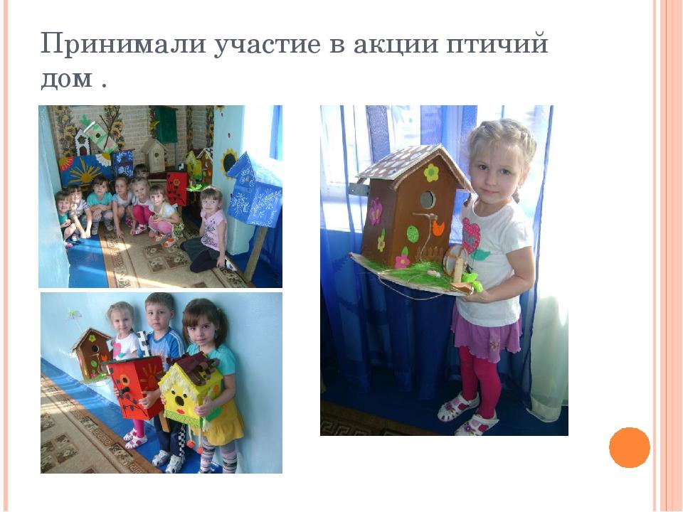 Принимали участие в акции птичий дом .