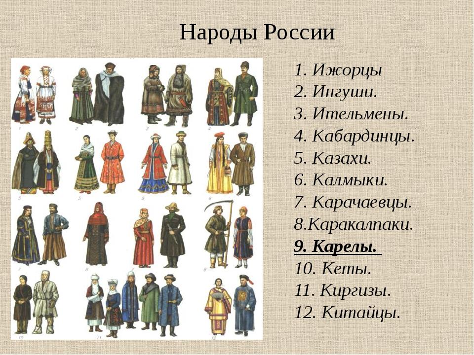 Народы России 1.Ижорцы 2.Ингуши. 3.Ительмены. 4.Кабардинцы. 5.Kазахи...