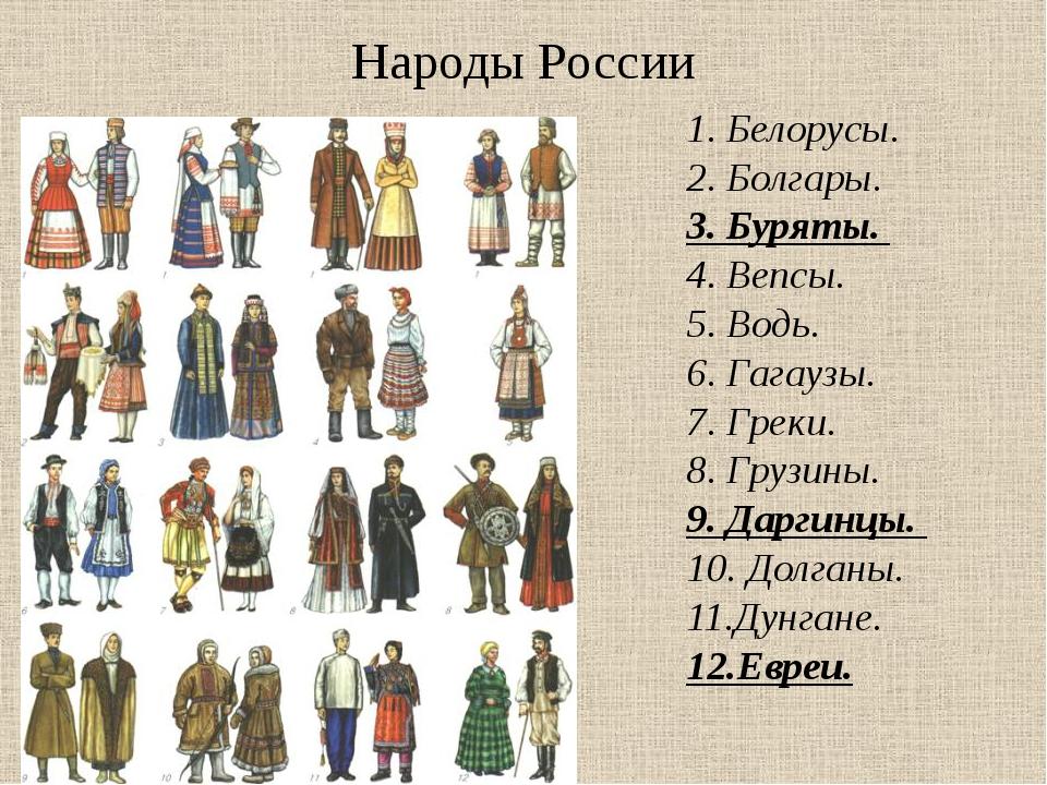 Народы России 1.Белорусы. 2.Болгары. 3.Буряты. 4.Вепсы. 5.Водь. 6....