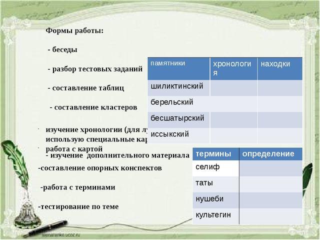 Формы работы: - беседы - разбор тестовых заданий - составление таблиц - соста...