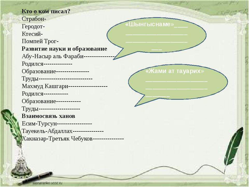 Кто о ком писал? Страбон- Геродот- Ктесий- Помпей Трог- Развитие науки и обра...