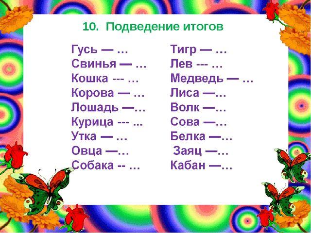 10. Подведение итогов