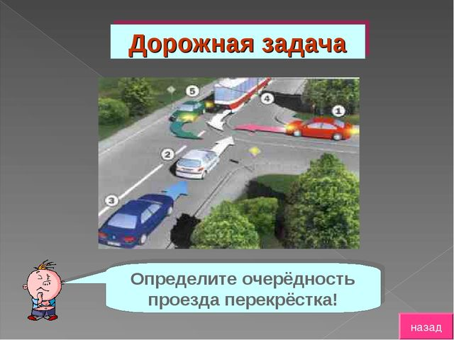 Дорожная задача Определите очерёдность проезда перекрёстка! назад