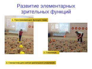 Развитие элементарных зрительных функций 1. Прослеживающие функции глаза 2. Г