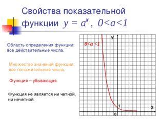 Свойства показательной функции у = а , 0