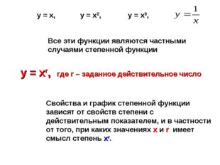 Все эти функции являются частными случаями степенной функции у = хr, где r –