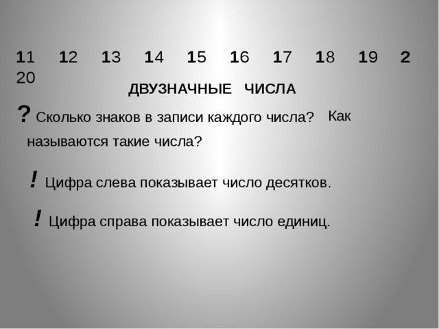 ? Сколько знаков в записи каждого числа? называются такие числа? 11 12 13 14...