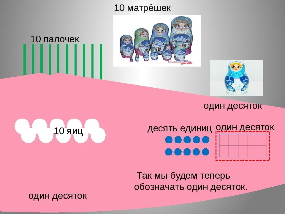 один десяток 10 палочек 10 матрёшек один десяток 10 яиц один десяток десять...