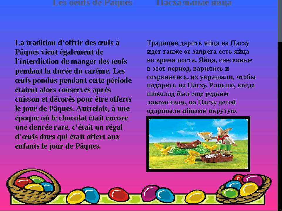 Les oeufs de Pâques Пасхальные яйца La tradition d'offrir des œufs à Pâques v...