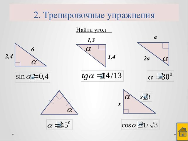 2. Тренировочные упражнения Найти угол α 2 2,4 7,2
